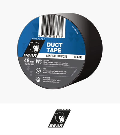 Bear PVC Duct Tape Multi Purpose Black 48mm X 30m
